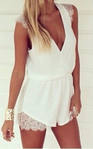 White Patchwork Lace Sexy Chiffon Short Jumpsuit