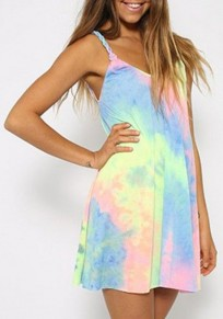 Multicolor Print Color Block Loose Sexy Mini Dress