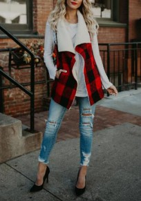 Red-Black Plaid Irregular Pockets Turndown Collar Vest Coat