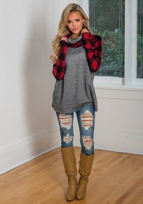 Red Plaid Print Long Sleeve Cowl Neck Casual T-Shirt