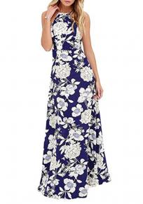 Blue Floral Pattern Round Neck Bohemian Cotton Maxi Dress