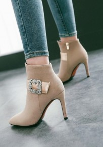 Apricot Point Toe Stiletto Rhinestone Fashion Ankle Boots