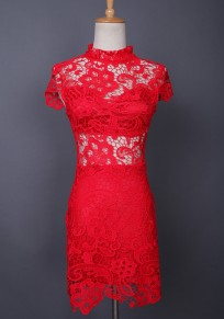 Red Floral Lace Cut Out Bodycon Band Collar Party Midi Dress