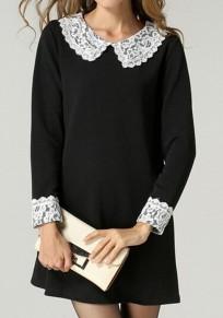 Black Patchwork Lace Pleated Zipper Peter Pan Collar Long Sleeve Mini Dress