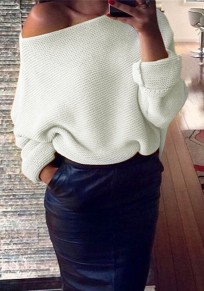 Beige Plain Irregular Boat Neck Fashion Acrylic Pullover Sweater