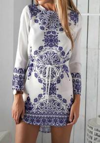White Floral Belt Vintage Long Sleeve Cotton Dress
