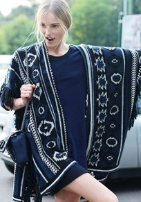 Navy Blue Geometric Irregular Tassel Cardigan
