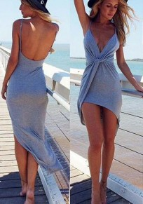 Grey Plain Condole Belt Pleated Irregular Plunging Neckline Dress