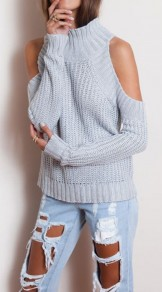 Grey Plain Cut Out Split Sleeve Pullover Sweater