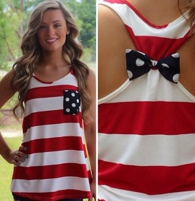 Red Striped Bow Pockets Sweet Vest