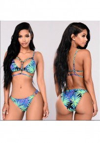 Blue Floral Spaghetti Strap Lace Up Backless Splicing Halter Two Piece Beach Swimwear