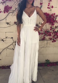 White Plain Lace Condole Belt Draped V-neck Sexy Maxi Dress