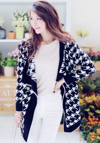 Navy Blue Geometric Print Long Sleeve Cardigan