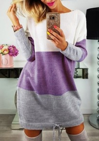 Purple Color Block Drawstring Round Neck Fashion Mini Dress