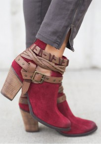 Red Round Toe Chunky Rivet Patchwork Fashion Ankle Boots