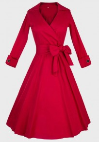 Red Buttons Sashes Pleated Tutu V-neck Hepburn Vintage Midi Dress