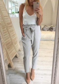 Grey Plain Pockets Ruffle Belt Drawstring Waist Long Pants