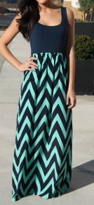 Blue Patchwork Wave Striped Print Floor Length Chiffon Maxi Dress