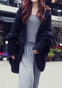 Black Irregular Oversize Slit Long Sleeve Casual Cardigan Sweater