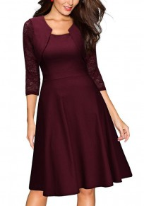 Wine Red Patchwork Lace Draped Round Neck Fashion Midi Dress