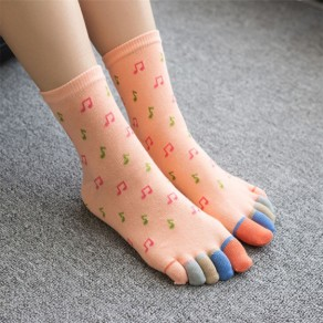 orange Colorful Musical Note Print fashion slim thick Socks
