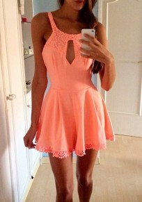 Pink Plain Lace Hollow-out U-neck Sleeveless Fashion Playsuit Short Jumpsuit
