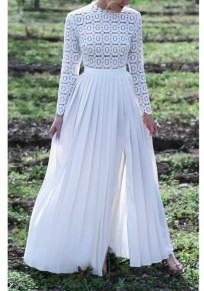 White Patchwork Lace Side Slit Round Neck Elegant Maxi Dress