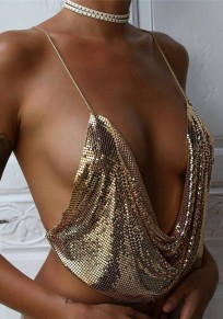 Golden Plain Sparkly Sequin Draped Halter Neck Chain Backless Sexy Club Vest