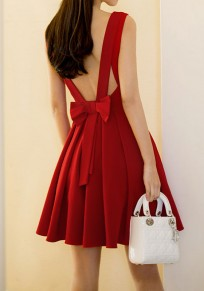 Red Pleated Bow Backless V-neck Elegant Party Mini Dress