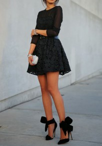 Black Embroidery Pleated Lace Long Sleeve A-line Flared Cocktail Party Sexy Mini Dress