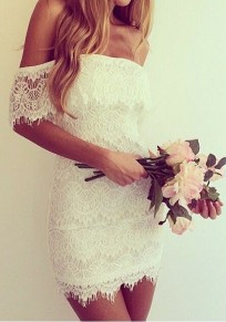 White Floral Bandeau Off the Shoulder Wavy Edge Boat Neck Sleeveless Sexy Bodycon Mini Dress