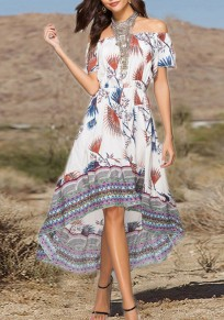 White Floral Irregular Draped High-low Off Shoulder Bohemian Party Maxi Dress