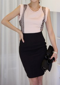 Black Plain Pleated Knee Length Office Worker/Daily Skirt