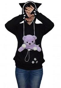 Black Multi-functional Pockets Long Sleeve Pet Carrier Hoodie Sweatshirt