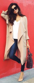 Khaki Plain No Button Turndown Collar Fashion Trench Coat