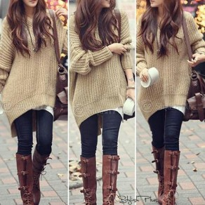 Apricot Hooded Dolman Batwing Long Sleeve Irregular Thick Knitted Jumper Sweater