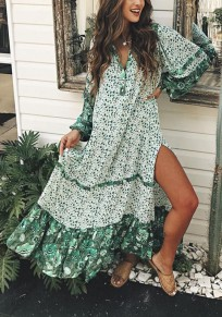 Green Tribal Print Striped Buttons Side Slit Draped Bohemian Flowy Maxi Dress