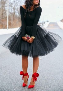 Black Grenadine Pleated Fluffy Puffy Tulle High Waisted Tutu Cute Skirt