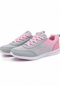 Pink Round Toe Flat Patchwork Casual Ankle Shoes