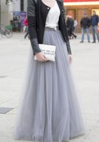 Light Grey Plain Mesh Grenadine Draped High Waisted Tutu Midi Skirt