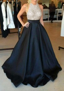 Black Sequin Pleated Glitter Tutu High Waisted Elegant Graduation Party Maxi Dress