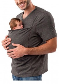 Deep Grey Pockets Multi-Functional Kangaroo Baby Bags Short Sleeve Casual T-Shirt