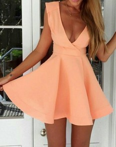 Pink Plain Pleated Plunging Neckline Backless Dress