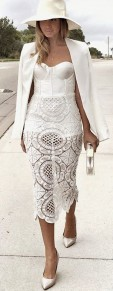 White Plain Hollow-out Back Slits Condole Belt Boat Neck Sexy Skinny Party Lace Midi Dress