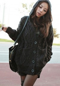 Dark Grey Geometric Round Neck Loose Wool Cardigan