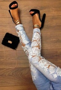 Light Blue Lace Hollow-out Patchwork Mid-rise Sexy Jeans