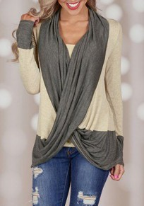 Beige Patchwork Irregular V-neck Long Sleeve Loose Fashion T-Shirt