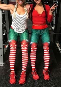 Leggings de noel rayé noeud papillon motif slim fitness yoga femme rouge et vert