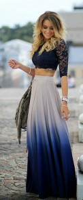 Purple Gradient Color Plain Irregular Pleated Sheer Chiffon Lined Blue Ombre Dip Dye Gradient Maxi Skirt