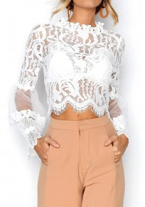 White Patchwork Lace Grenadine Flare Sleeve Elegant Office Worker/Daily Blouse